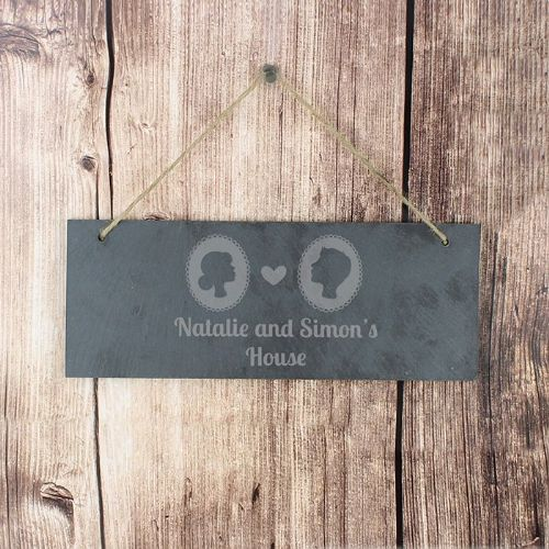 Personalised Cameo Slate Door Sign